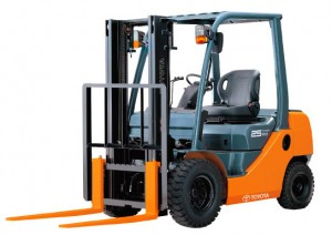 Green and Orange 2.5 tonne toyota 8 series lpg forklift for sale