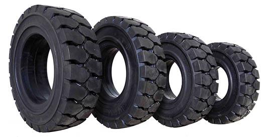 4 different sizes of brand new puncture proof solid rubber forklift tyres side view